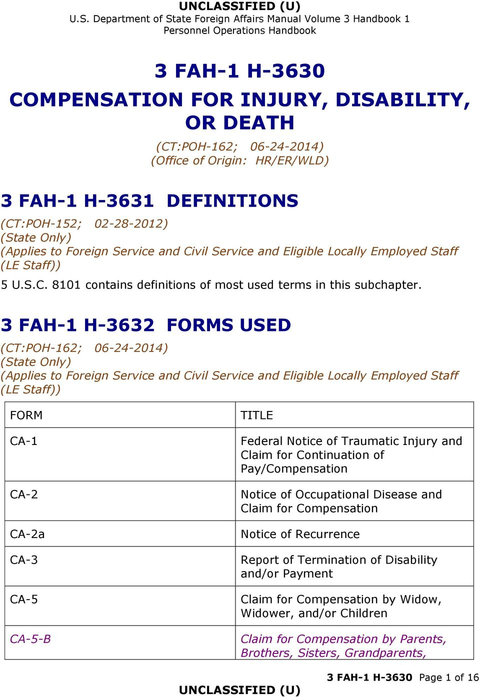 Occupational Disease and Claim for Compensation Notice of Recurrence Report of Termination of Disability and/or Payment Claim for Compensation by Widow, Widower,