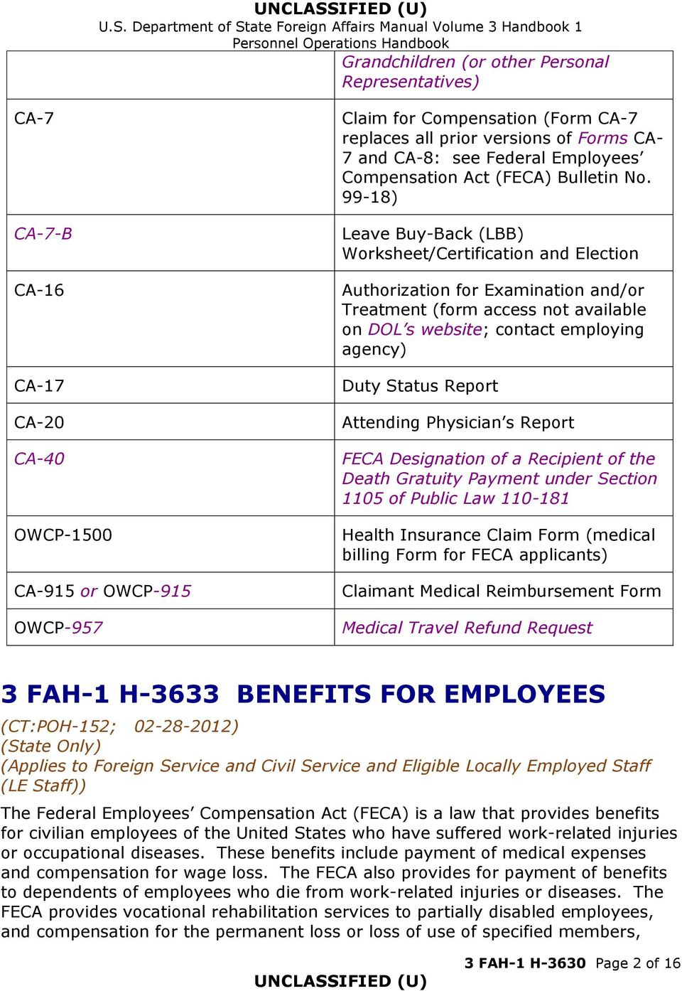 99-18) Leave Buy-Back (LBB) Worksheet/Certification and Election Authorization for Examination and/or Treatment (form access not available on DOL s website; contact employing agency) Duty Status