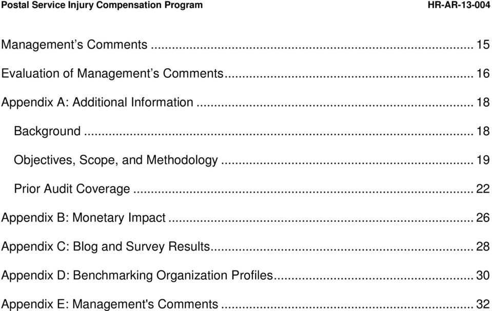 .. 18 Objectives, Scope, and Methodology... 19 Prior Audit Coverage.