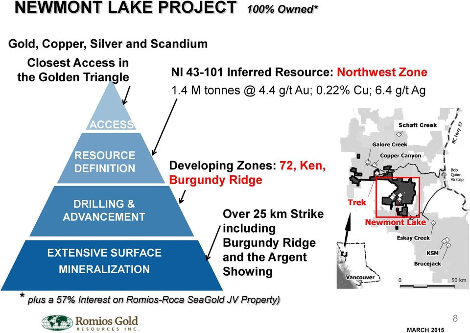 4 g/t Ag ACCESS Schaft Creek RESOURCE DEFINITION DRILLING & ADVANCEMENT EXTENSIVE SURFACE MINERALIZATION