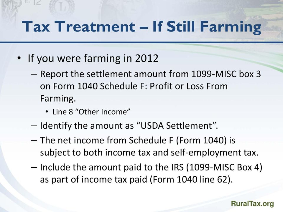 Line 8 Other Income Identify the amount as USDA Settlement.