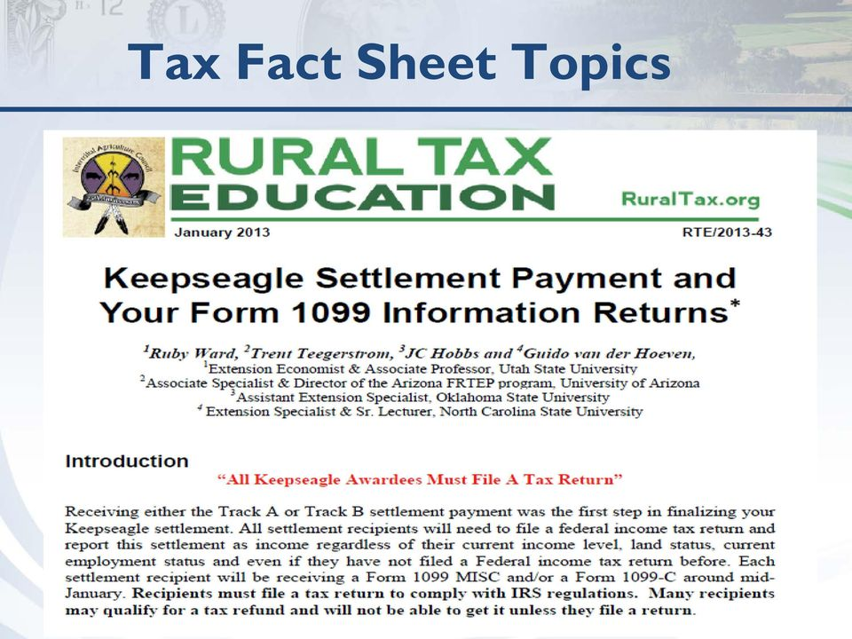 Keepseagle Settlement Payment and Your Form 1099 Information - PDF