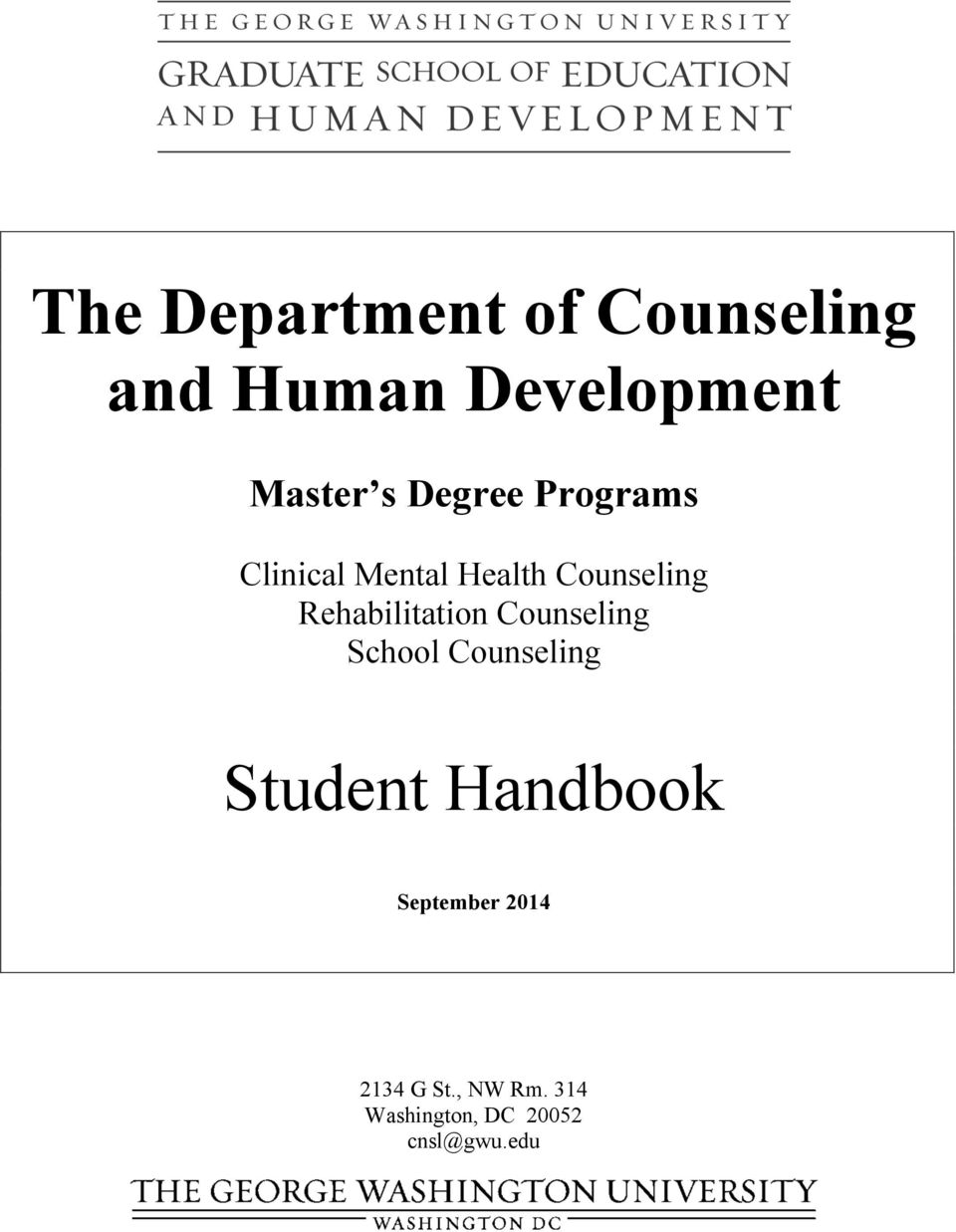 Rehabilitation Counseling School Counseling Student Handbook