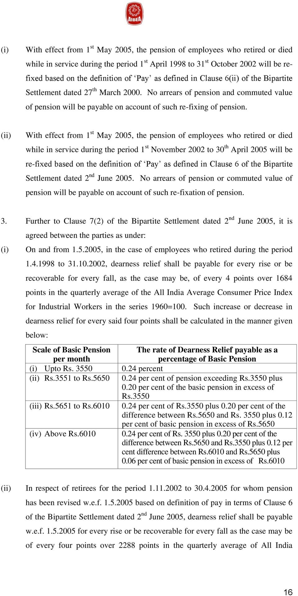 (ii) With effect from 1 st May 2005, the pension of employees who retired or died while in service during the period 1 st November 2002 to 30 th April 2005 will be re-fixed based on the definition of