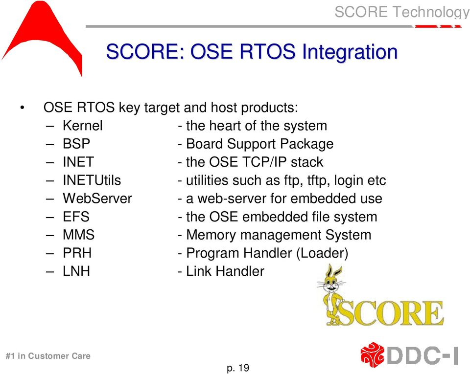 utilities such as ftp, tftp, login etc WebServer - a web-server for embedded use EFS - the OSE