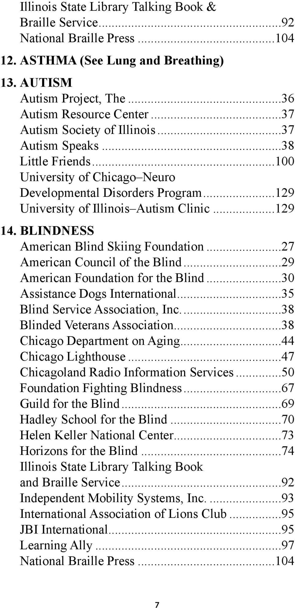 BLINDNESS American Blind Skiing Foundation...27 American Council of the Blind...29 American Foundation for the Blind...30 Assistance Dogs International...35 Blind Service Association, Inc.