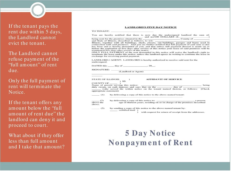 Only the full payment of rent will terminate the Notice.