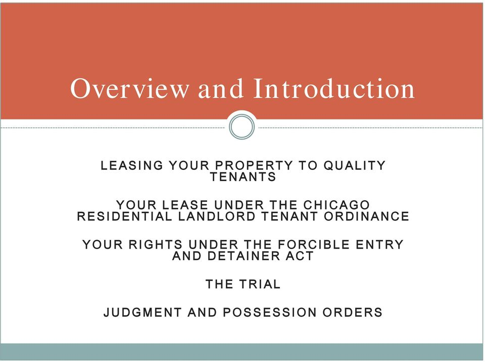 LANDLORD TENANT ORDINANCE YOUR RIGHTS UNDER THE FORCIBLE