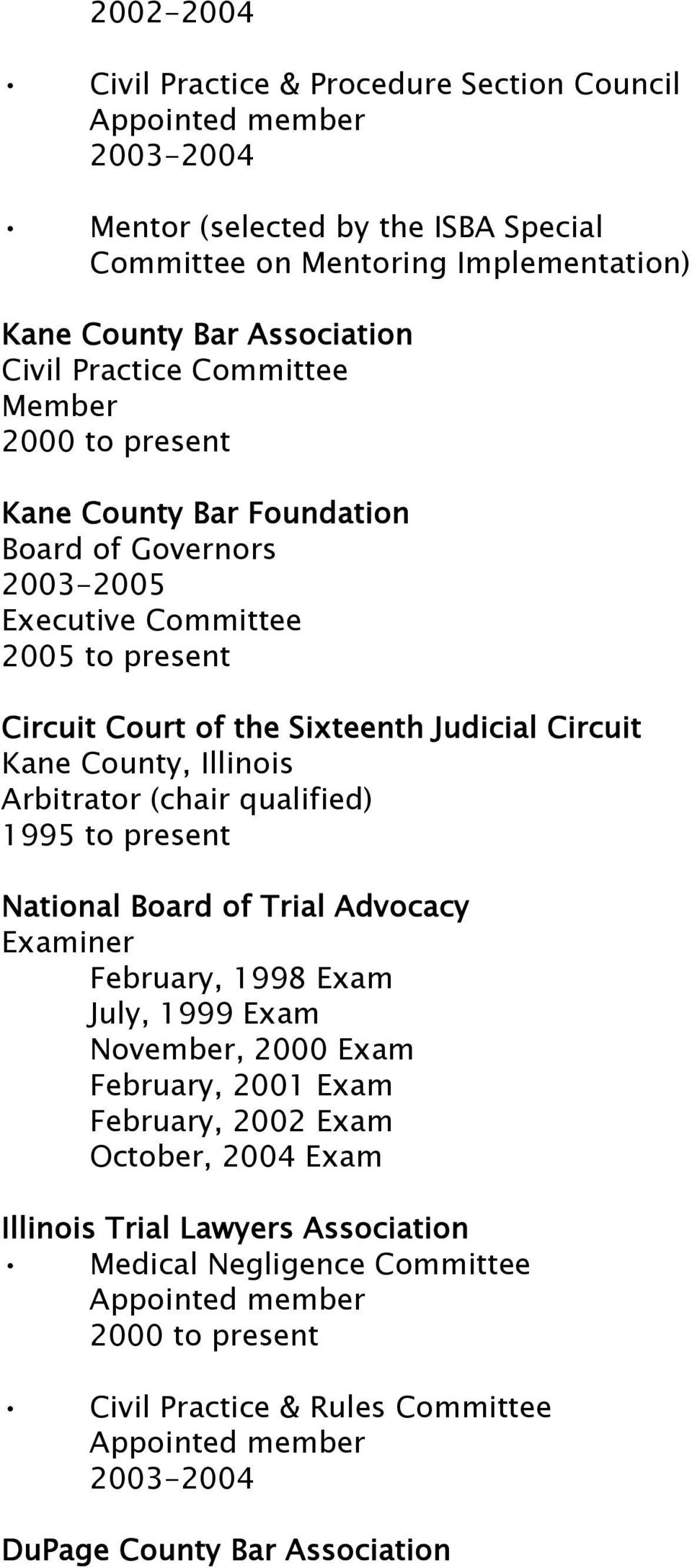Illinois Arbitrator (chair qualified) 1995 to present National Board of Trial Advocacy Examiner February, 1998 Exam July, 1999 Exam November, 2000 Exam February, 2001 Exam February, 2002 Exam