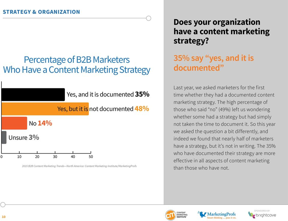 documented content marketing strategy. The high percentage of those who said no (49%) left us wondering whether some had a strategy but had simply not taken the time to document it.