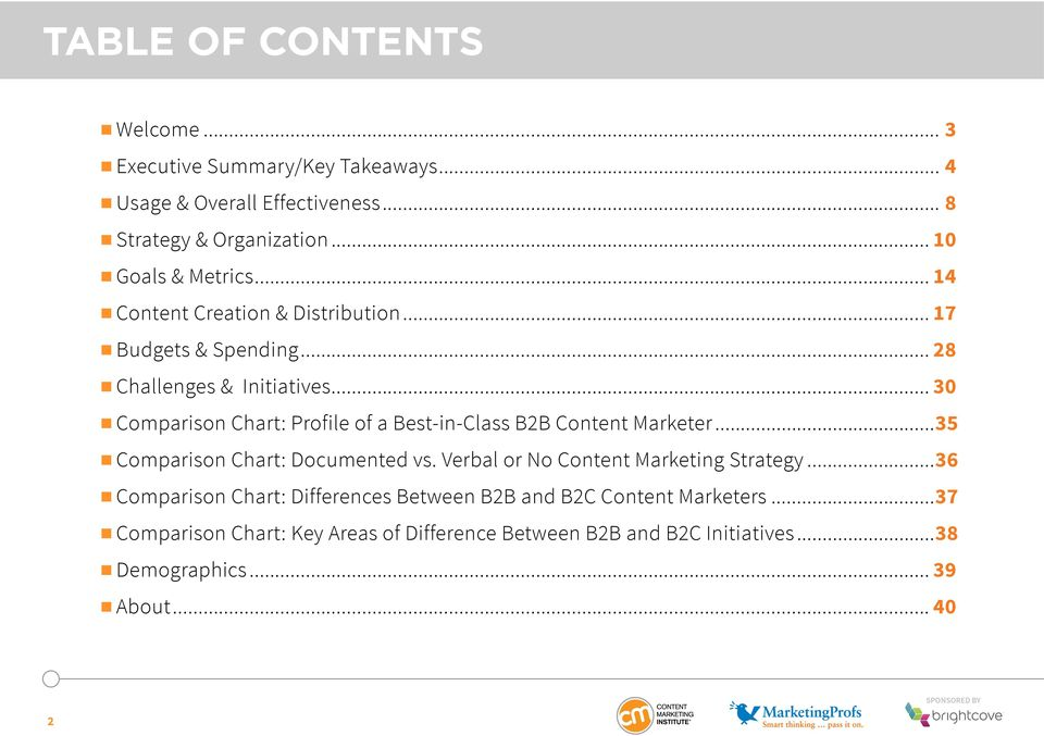 .. 30 Comparison Chart: Profile of a Best-in-Class B2B Content Marketer...35 Comparison Chart: Documented vs.