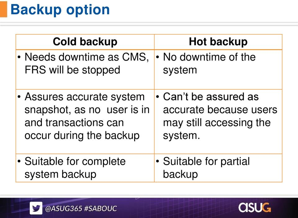 backup Suitable for complete system backup Hot backup No downtime of the system Can