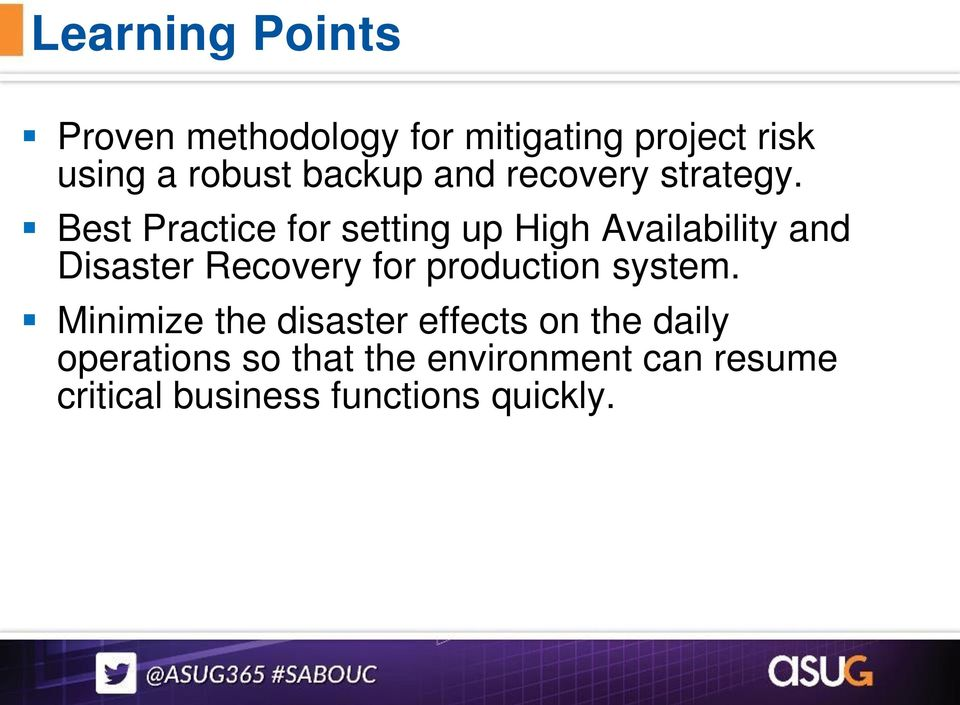 Best Practice for setting up High Availability and Disaster Recovery for