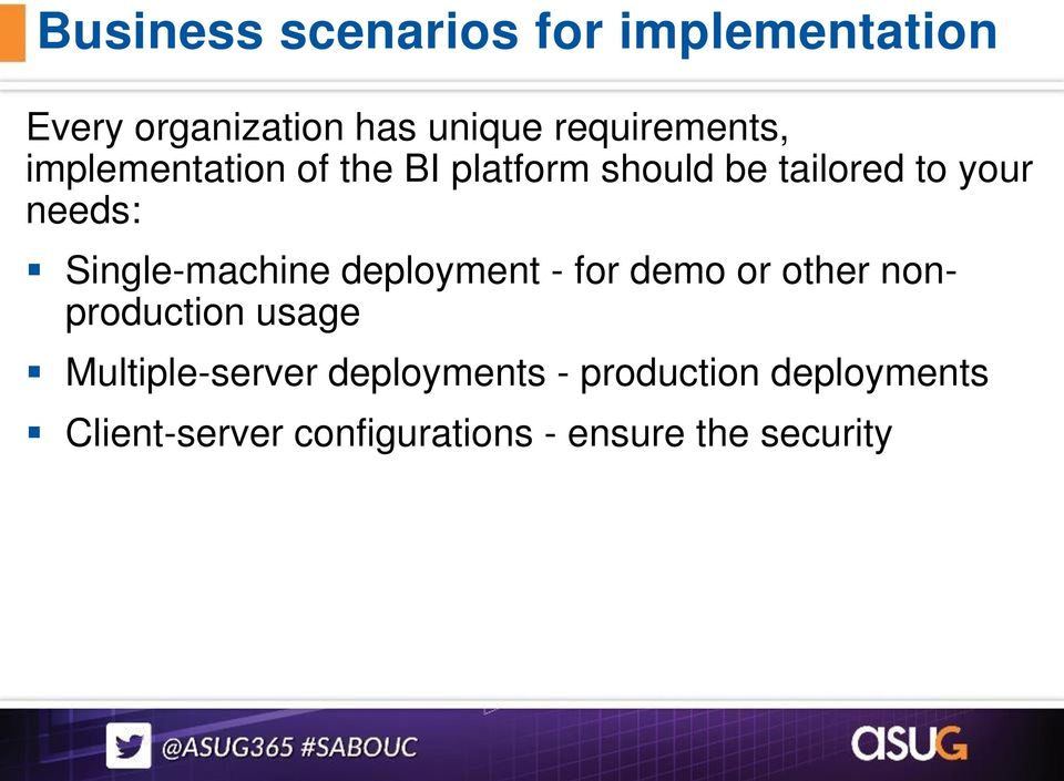 needs: Single-machine deployment - for demo or other nonproduction usage