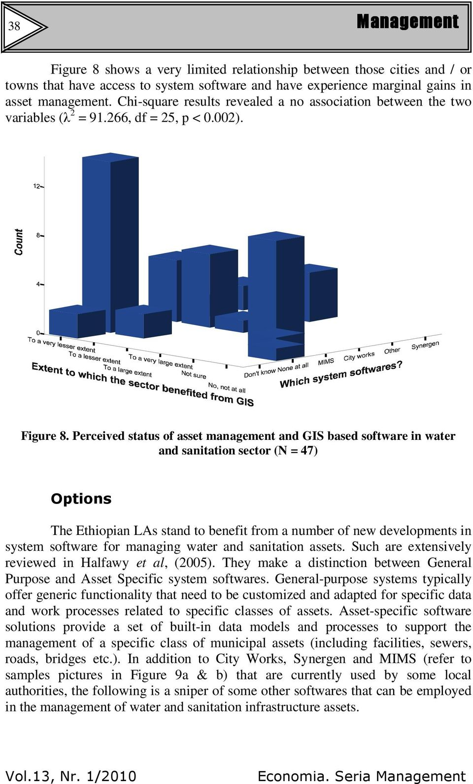 Perceived status of asset management and GIS based software in water and sanitation sector (N = 47) Options The Ethiopian LAs stand to benefit from a number of new developments in system software for