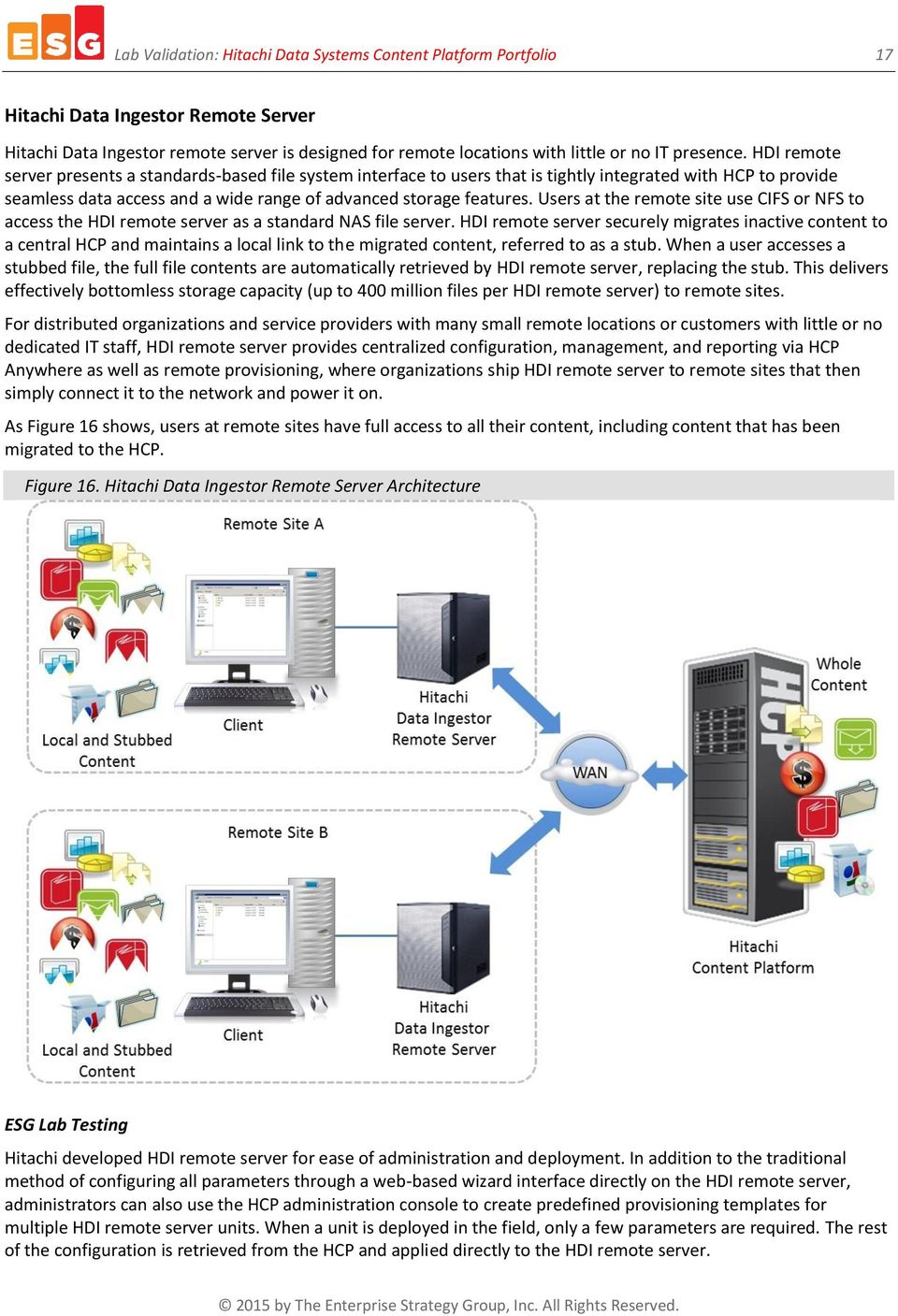 Users at the remote site use CIFS or NFS to access the HDI remote server as a standard NAS file server.