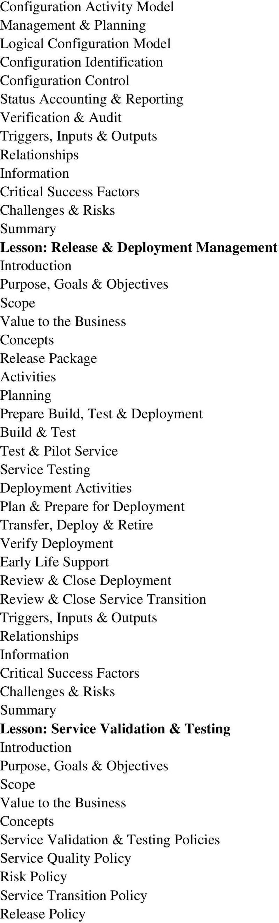 Testing Deployment Plan & Prepare for Deployment Transfer, Deploy & Retire Verify Deployment Early Life Support Review & Close Deployment Review & Close Service