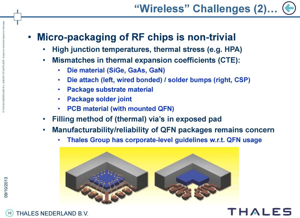 ng of RF chips is non-trivial High junction temperatures, thermal stress (e.g. HPA) Mismatches in thermal expansion coefficients
