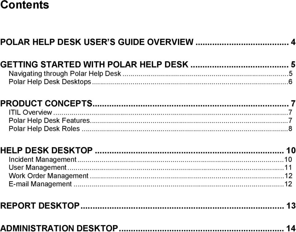 ..7 Polar Help Desk Features...7 Polar Help Desk Roles...8 HELP DESK DESKTOP... 10 Incident Management.