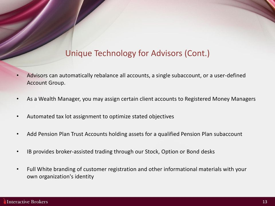 objectives Add Pension Plan Trust Accounts holding assets for a qualified Pension Plan subaccount IB provides broker-assisted trading through