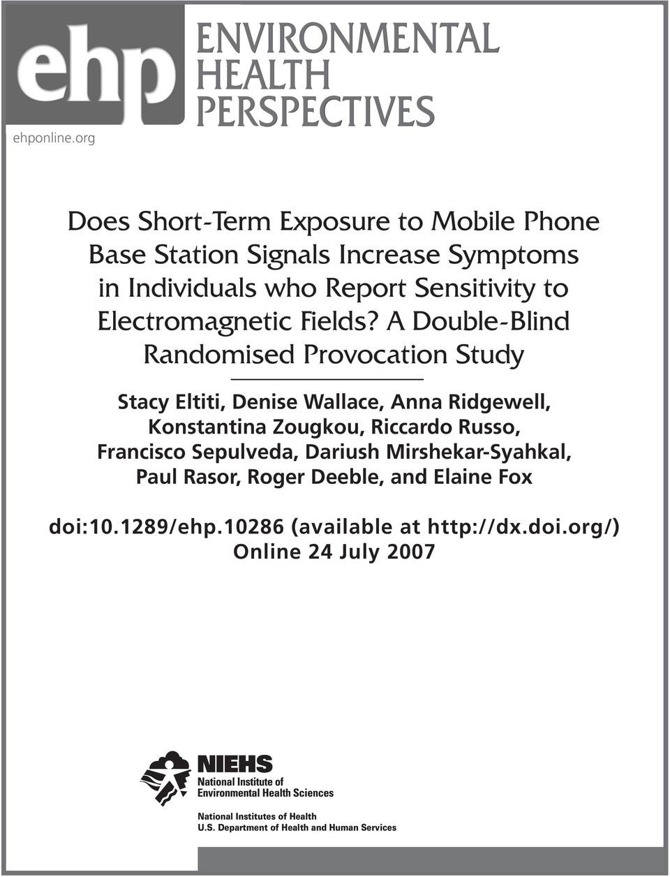Report Sensitivity to Electromagnetic Fields?