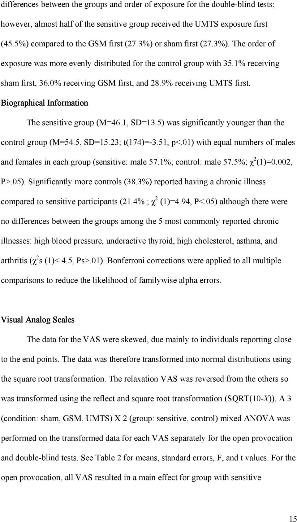 Biographical Information The sensitive group (M=46.1, SD=13.5) was significantly younger than the control group (M=54.5, SD=15.23; t(174)=-3.51, p<.