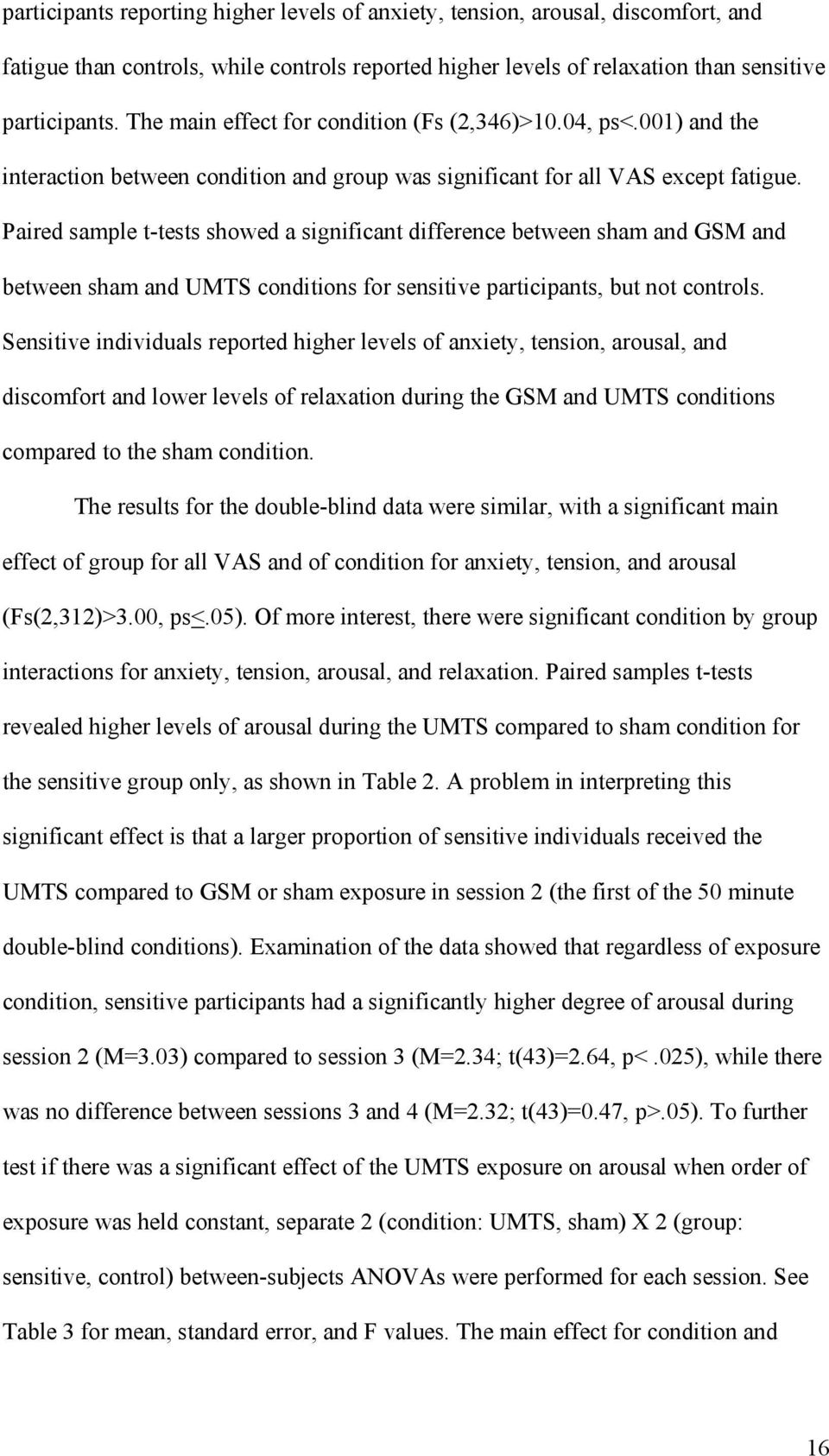 Paired sample t-tests showed a significant difference between sham and GSM and between sham and UMTS conditions for sensitive participants, but not controls.