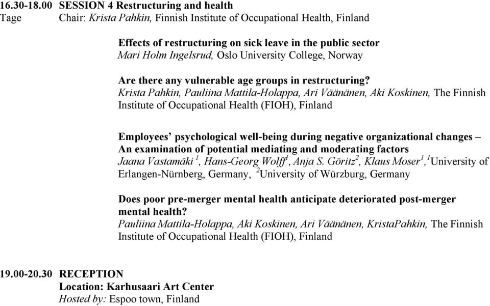 Oslo University College, Norway Are there any vulnerable age groups in restructuring?