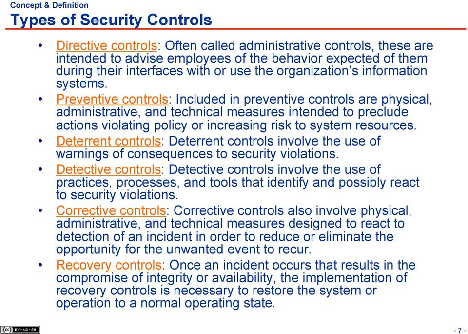 Preventive controls: Included in preventive controls are physical, administrative, and technical measures intended to preclude actions violating policy or increasing risk to system resources.