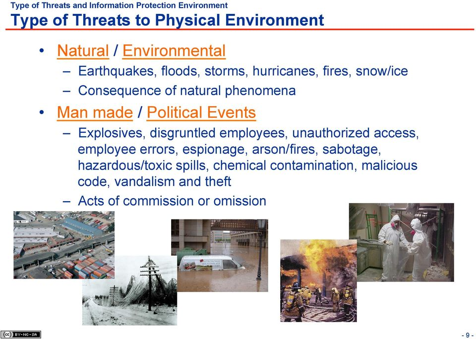 Political Events Explosives, disgruntled employees, unauthorized access, employee errors, espionage, arson/fires,