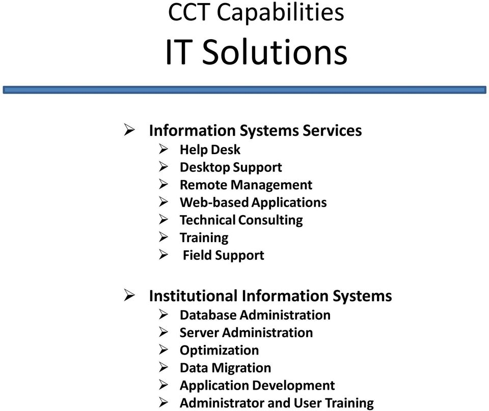 Field Support Institutional Information Systems Database Administration Server