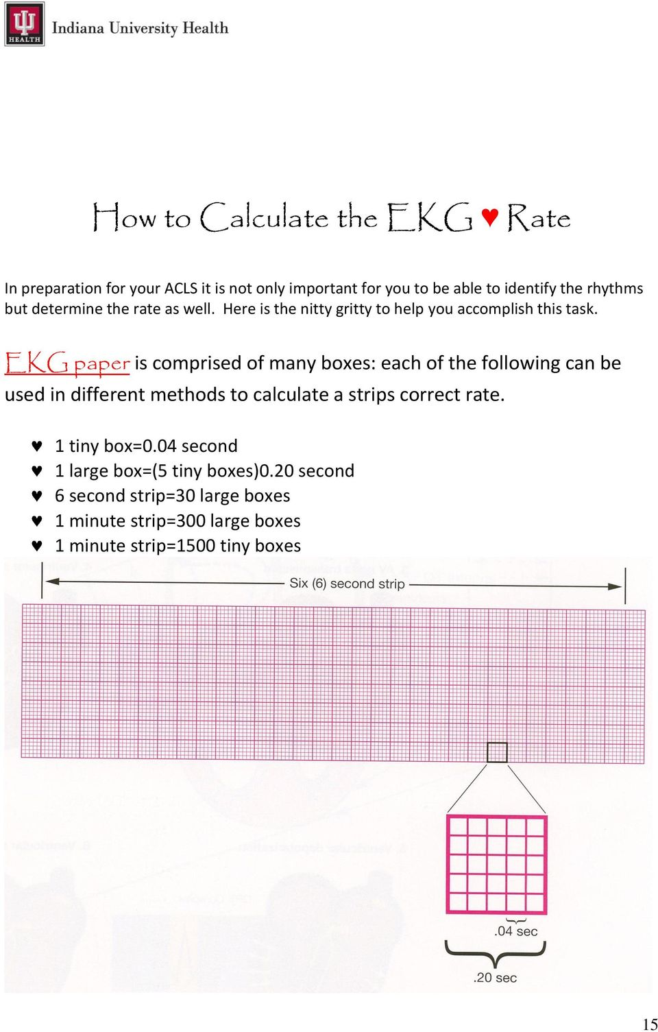 EKG paper is comprised of many boxes: each of the following can be used in different methods to calculate a strips correct