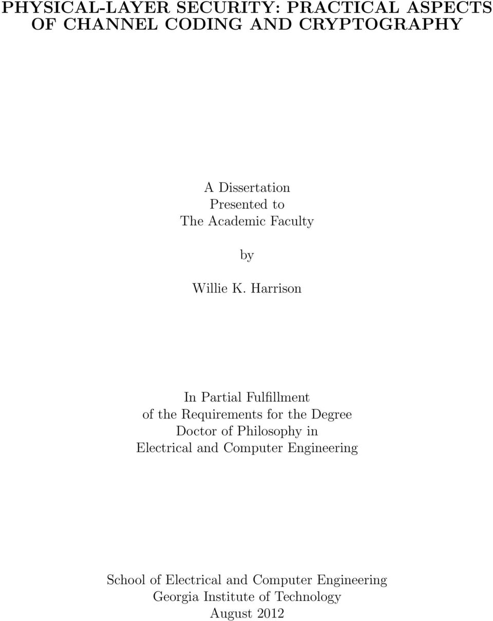 Harrison In Partial Fulfillment of the Requirements for the Degree Doctor of Philosophy