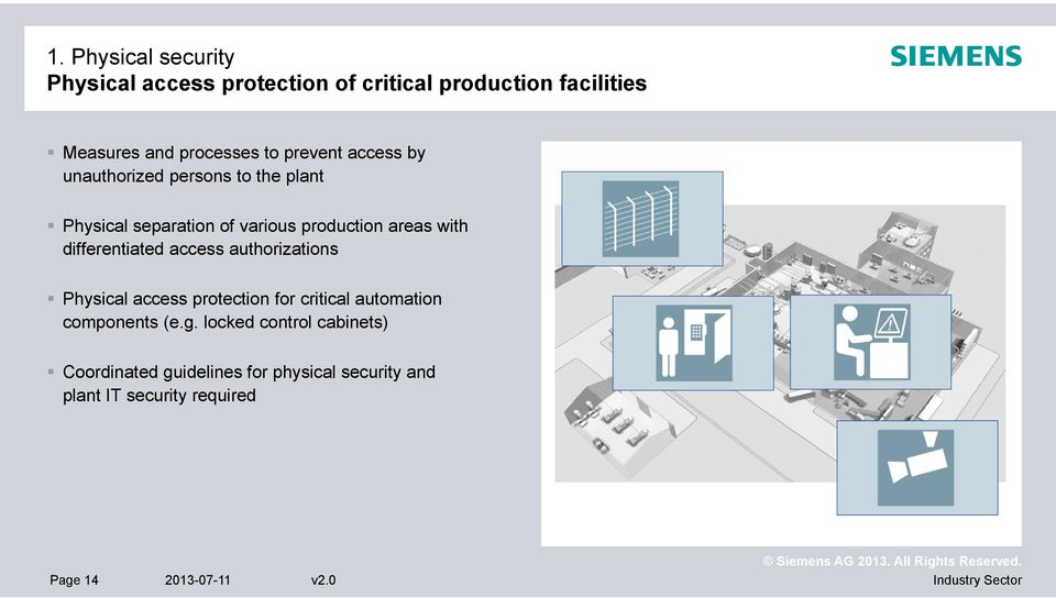 differentiated access authorizations Physical access protection for critical automation components (e.g.