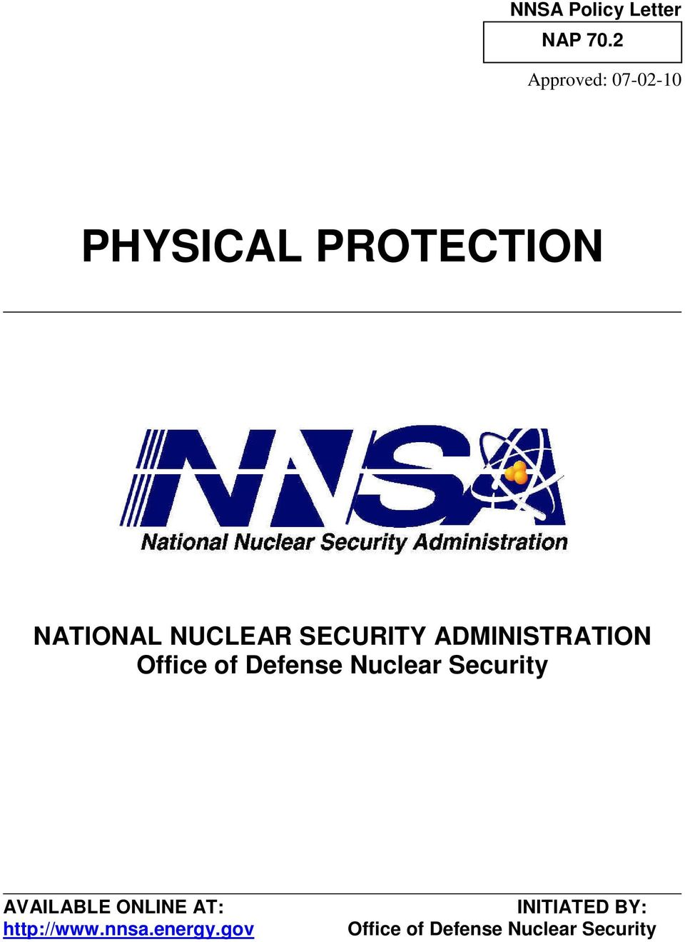 ADMINISTRATION Office of Defense Nuclear Security
