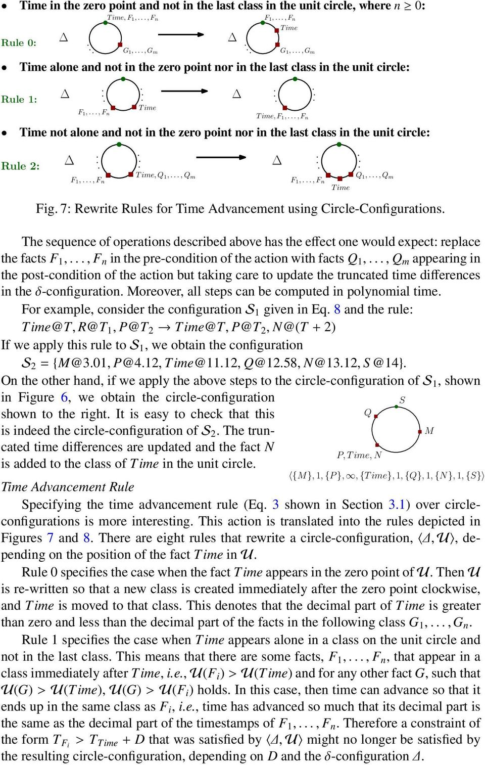 .., Fn Time not alone and not in the zero point nor in the last class in the unit circle: Rule 2: F1,..., Fn T ime, Q1,..., Qm F1,..., Fn T ime Q1,..., Qm Fig.