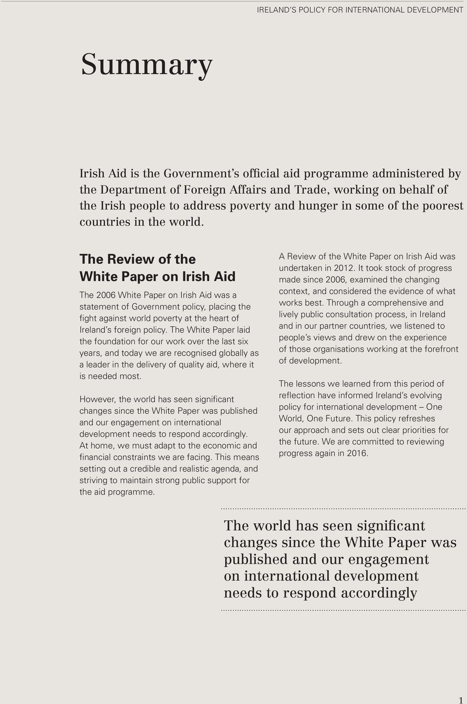 The Review of the White Paper on Irish Aid The 2006 White Paper on Irish Aid was a statement of Government policy, placing the fight against world poverty at the heart of Ireland s foreign policy.
