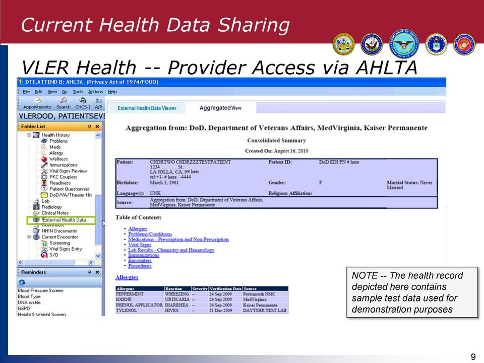 health record depicted here contains