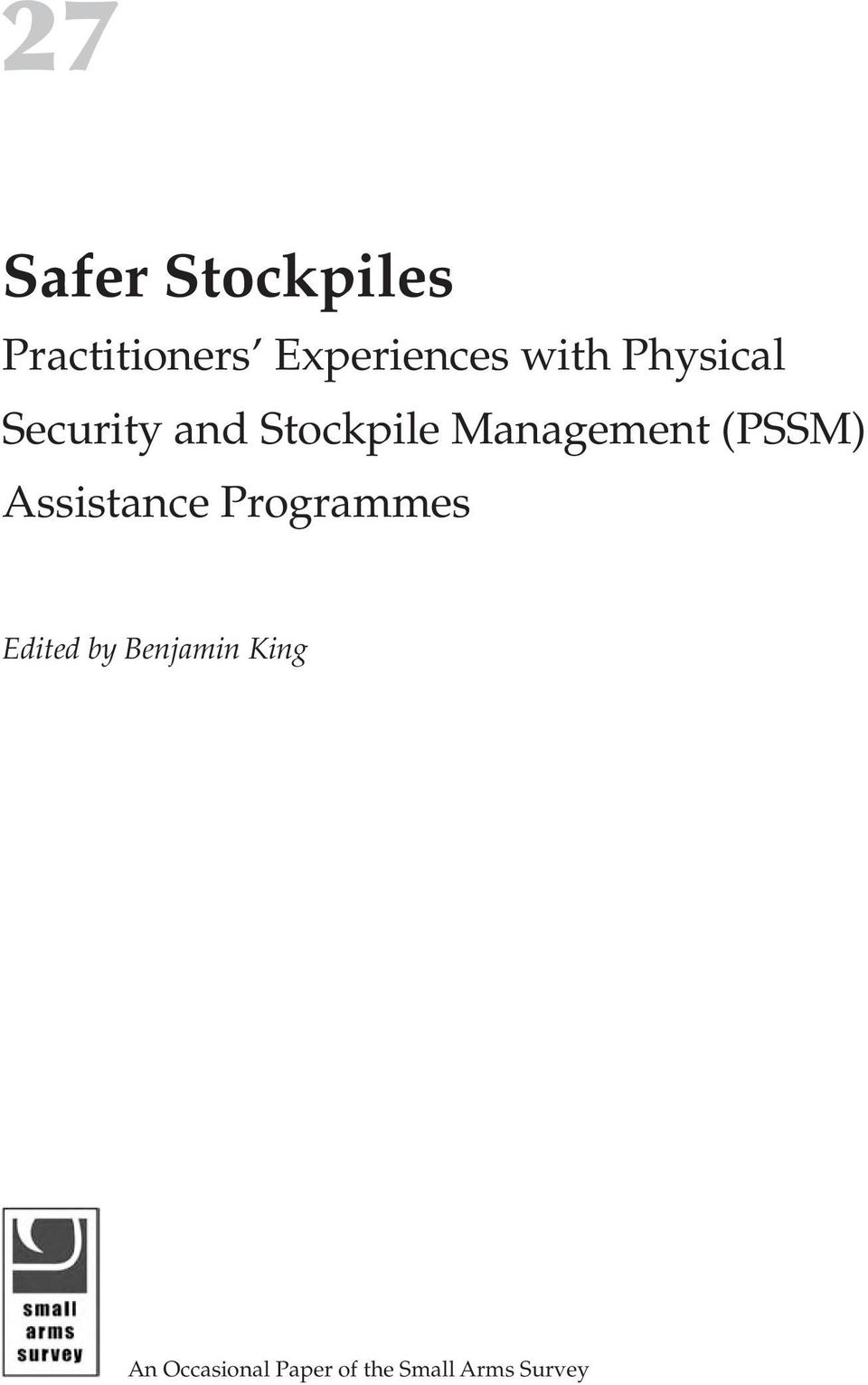 (PSSM) Assistance Programmes Edited by Benjamin