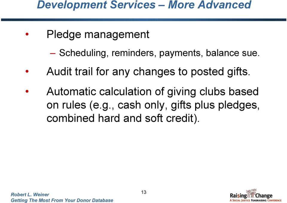 Audit trail for any changes to posted gifts.