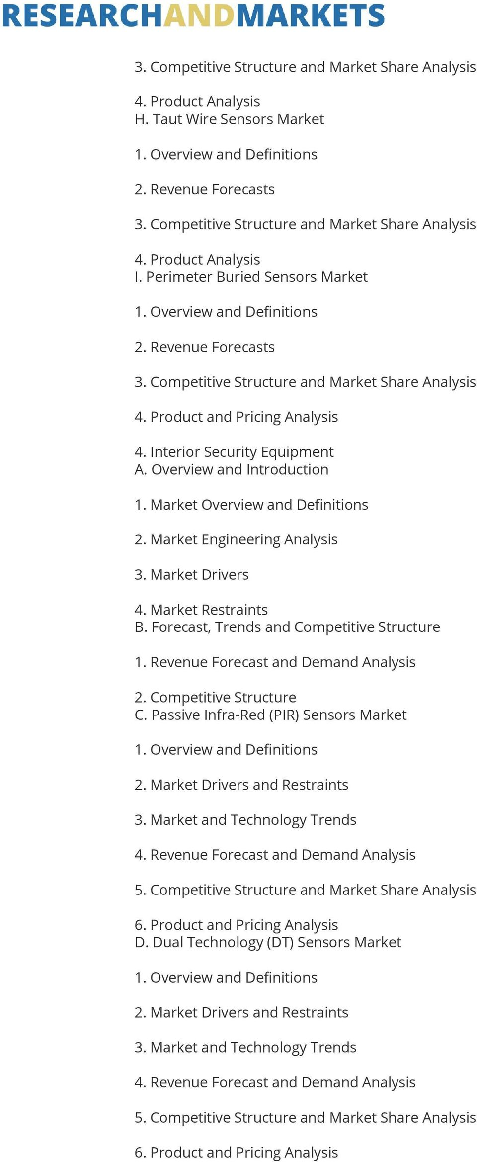 Market Overview and Definitions 2. Market Engineering Analysis 3. Market Drivers 4. Market Restraints B. Forecast, Trends and Competitive Structure 1.