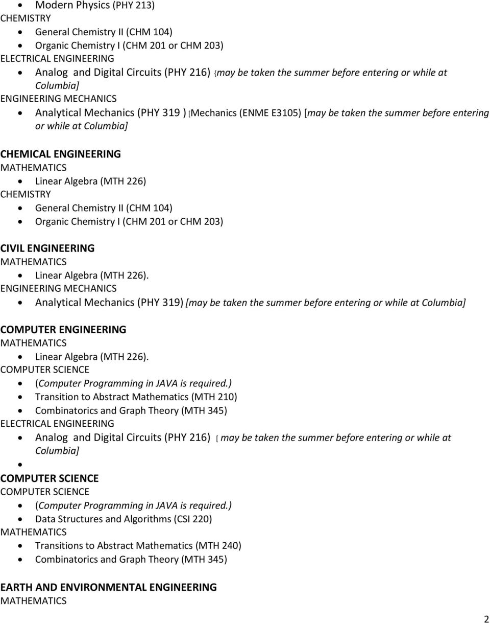 Analytical Mechanics (PHY 319) [may be taken the summer before entering or while at COMPUTER ENGINEERING. (Computer Programming in JAVA is required.