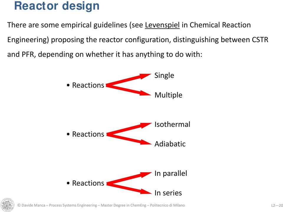 anything to do with: Reactions Single Multiple Reactions Isothermal Adiabatic Reactions In parallel