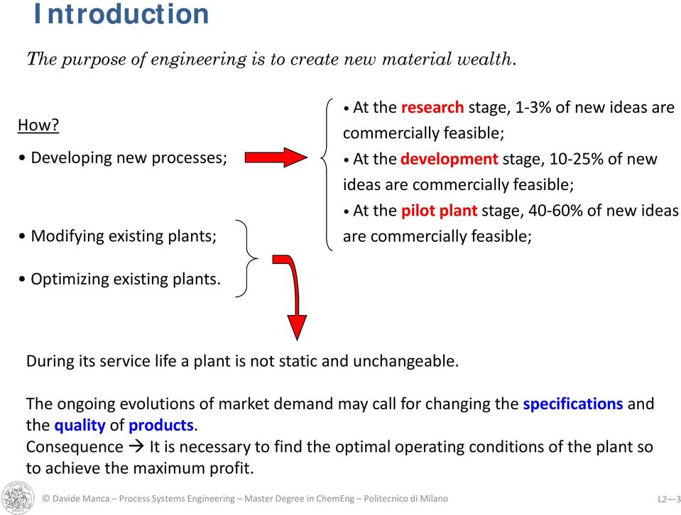 feasible; At the pilot plant stage, 40 60% of new ideas are commercially feasible; Optimizing existing plants. During its service life a plant is not static and unchangeable.