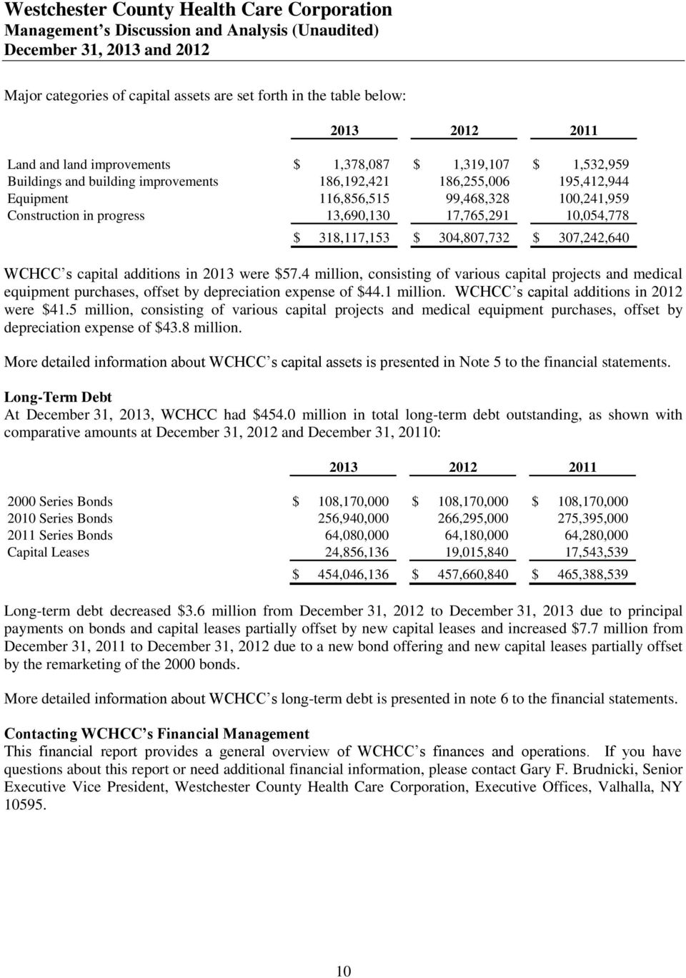 304,807,732 $ 307,242,640 WCHCC s capital additions in 2013 were $57.4 million, consisting of various capital projects and medical equipment purchases, offset by depreciation expense of $44.1 million.
