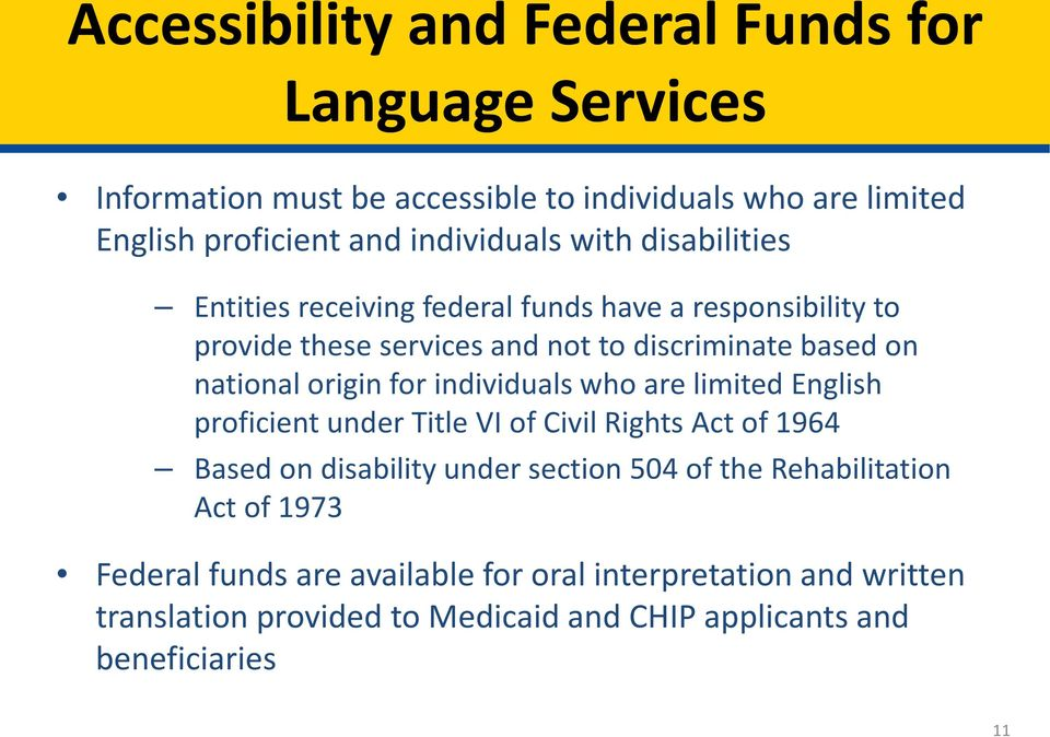 for individuals who are limited English proficient under Title VI of Civil Rights Act of 1964 Based on disability under section 504 of the