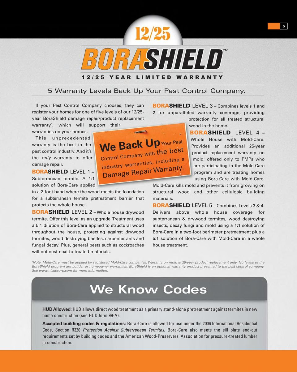warranties on your homes. This unprecedented warranty is the best in the pest control industry. And it s the only warranty to offer damage repair. BORASHIELD LEVEL 1 Subterranean termite.