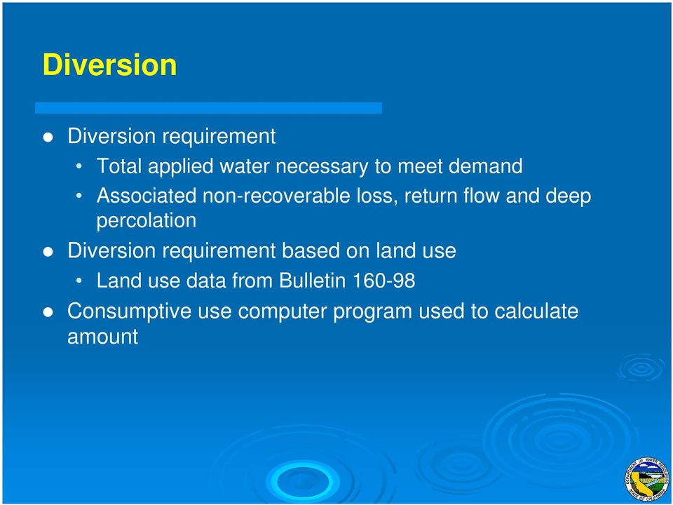 percolation Diversion requirement based on land use Land use data