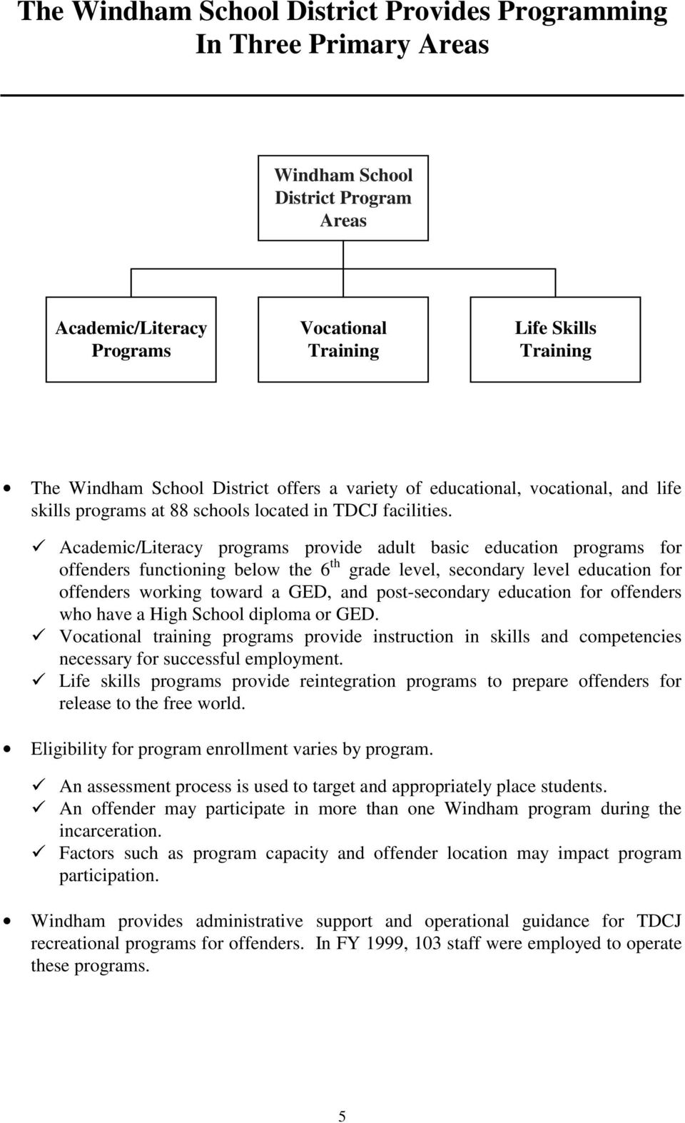 "!""academic/literacy programs provide adult basic education programs for offenders functioning below the 6 th grade level, secondary level education for offenders working toward a GED, and"