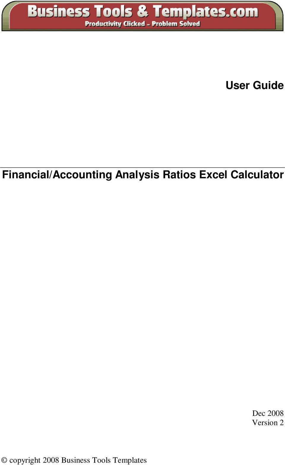 Ratios Excel Calculator Dec
